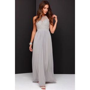 Lulu's Dresses & Skirts - 'So Far Gown Grey Lace Maxi' dress by Lulus.