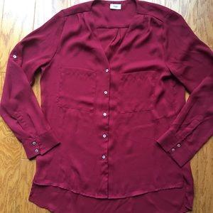 Tobi Tops - NWOT burgundy chiffon button down blouse