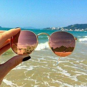 Rose Gold Pink Mirrored Round Sunglasses