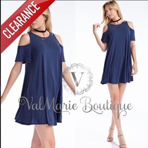 CLEARANCE NAVY COLD SHOULDER MINI DRESS TUNIC