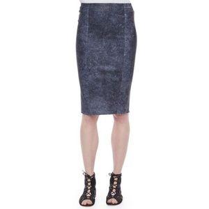 Elue Tahari Pamela Blue Distressed Leather Skirt