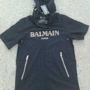 Balmain Other - Balmain t-shirt hoodie short sleeves gold side zip