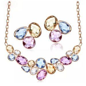 custom Jewelry - Swarovski Crystal Pastel Geometric Necklace DF100