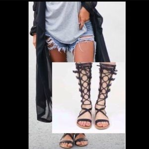 Shoes - Corset lace up gladiator flat tall sandal shoes.