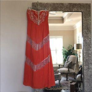 Flying Tomato Strapless  Orange Maxi Dress