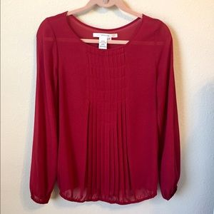 Studio M Red Pleated Blouse