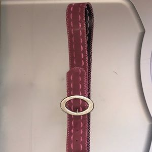 "Accessories - 34"" pink embroidered suedelike belt"