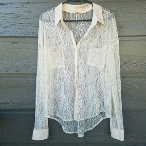 Free People Tops - Free People Cream Lace High Low Button Down Top