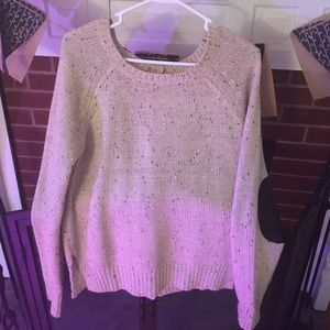 Tan sweater with full button back and patch elbow