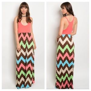 Chevron Colorful Tank Top Long Maxi Dress S M L