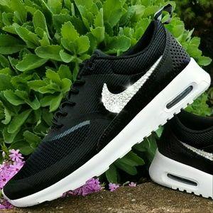 50f827b4cd9c Swarovski Bling Nike Juvenate Black Nike Swarovski Bling Air Max Thea Black  ...