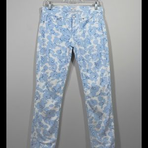 J. Crew baby blue floral stretch jeans
