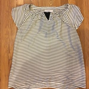 Loft size small flowy striped shirt with ribbon