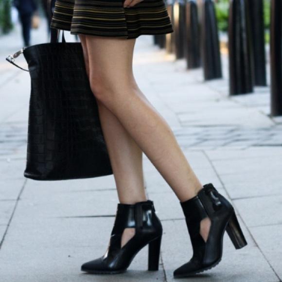 Tibi Black Leather Perla Cutout Booties