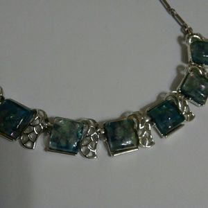 Light Blue Faux Gemstone Statement Necklace Silver