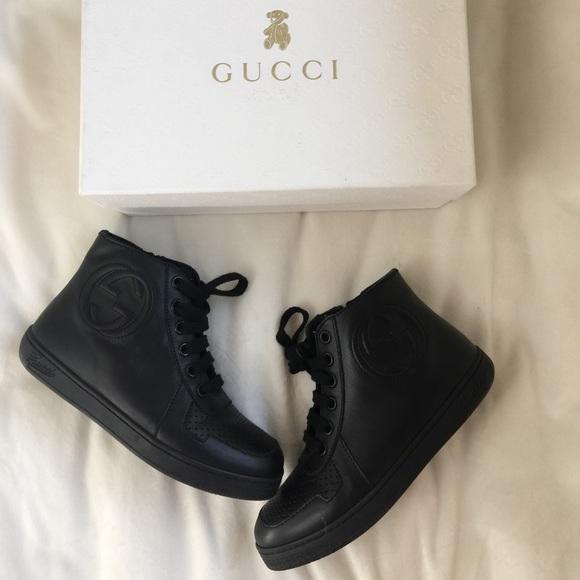 7a496b37e Gucci Shoes | Unisex Kids Black Logo High Top Sneakers | Poshmark
