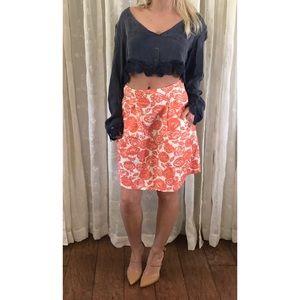 J. Crew Orange & White Floral Skirt, 0