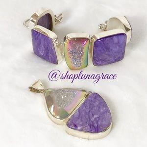 Jewelry - Sugilite & Window Pane Drusy Quartz Set