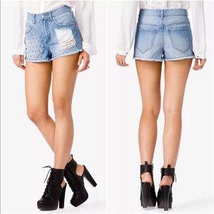 Forever 21 Pants - Forever 21 High Waisted Studded Denim Shorts