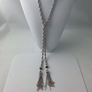 ☀️ SALE ☀️ Long Luxe Silver Tassel Necklace