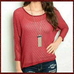Tops - Textured Knit Top - Brick Red 💫