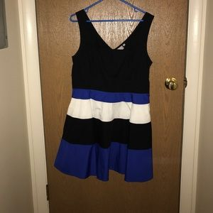 Black, Blue and White Striped Dress, Size 14