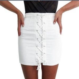 Vogue Vice Dresses & Skirts - NWT white lace up mini skirt