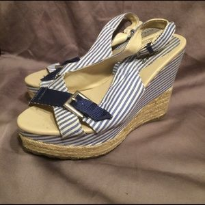Bumper Shoes - Blue & White Striped Nautical Wedges