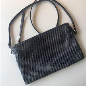 Handbags - Pewter Metallic Leather Mesh Crossbody bag/Clutch