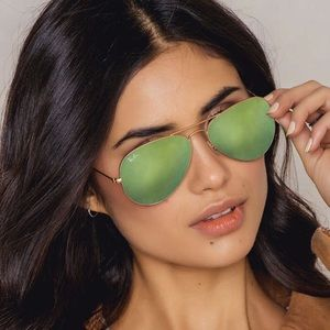 Ray-Ban Accessories - 100% AUTHENTIC GREEN MIRRORED RAY BAN AVIATOR