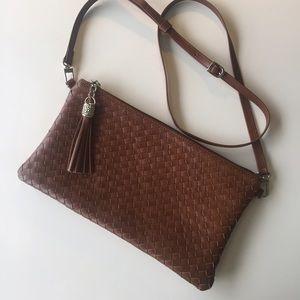 Handbags - Cognac Leather Basketweave Crossbody bag/Clutch