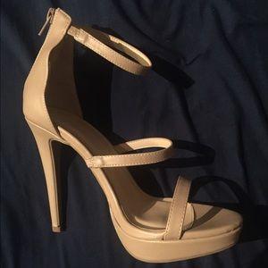 Wild Diva Shoes - Beige ankle strap high heels
