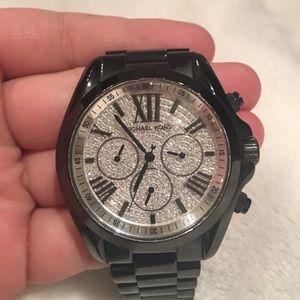 Black Michael Kors Watch-- Crystal Face