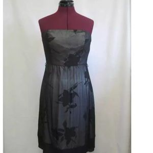 The Limited Silk Black Floral Strapless Dress