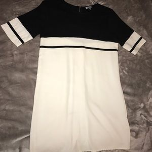 Tobi, stripe shift dress, black and ivory