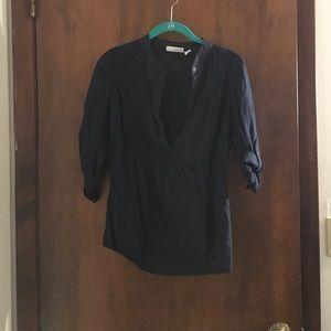 St. John's Bay Tops - Half button down long sleeve top