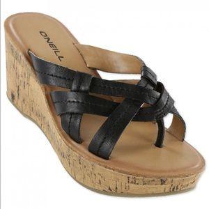 "O'Neill Shoes - O'Neill - ""Margarita"" Cork Wedge Sandal"