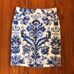 Cream and Blue Watercolor Damask Pencil Skirt