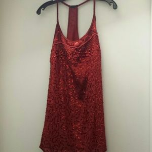 Sisley Red Sequin Cocktail Dress, XS