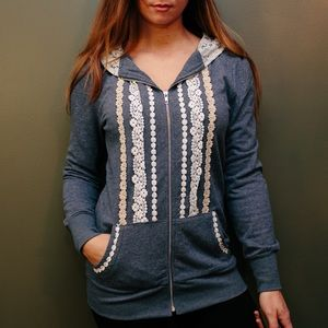 ROMWE Tops - Lace Patterned Hoodie