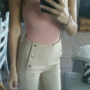 Zara High Waist Skinny Pants Golden Buttons