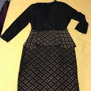 Fashion to Figure Dresses & Skirts - Black & Gold Peplum Party Dress - 1X