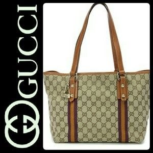 Gucci Handbags - Gucci Italy Canvas Leather Trim Bag