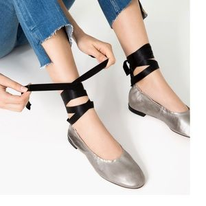 Zara Shoes - Zara Lace Up Leather Ballet Flats Size 9 New !!!