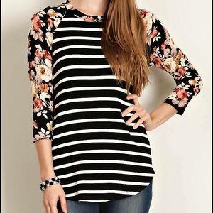 Tops - Black Stripe/Floral Print Sleeves Jersey Top