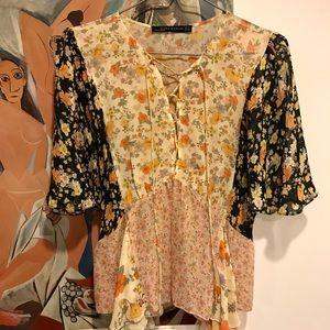 Zara boho floral blouse XS