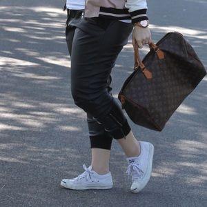 Black Faux Leather Jogger Pants