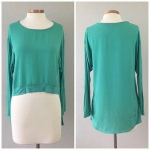 Olsenboye Tops - Olsenboye Turquoise Hi Lo Stretch Long Sleeve Top
