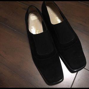 Ferragamo black suede elastic slip on shoes