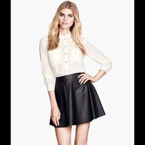 H&M Divided Black Leather Skater Skirt